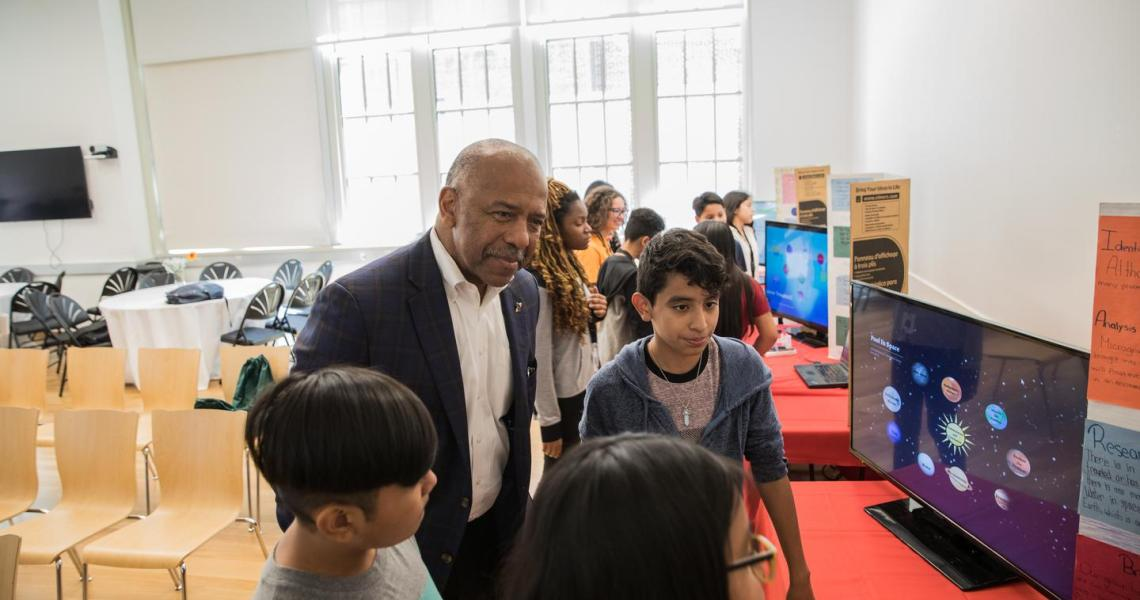 Dr. Bernard Harris and students at the 2018 Bernard Harris Summer STEM Camp.