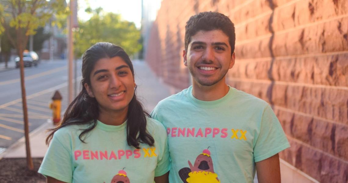 Dorman Scholars, computer science majors and hackathon winners Aarati Srikumar and George Aboudiwan