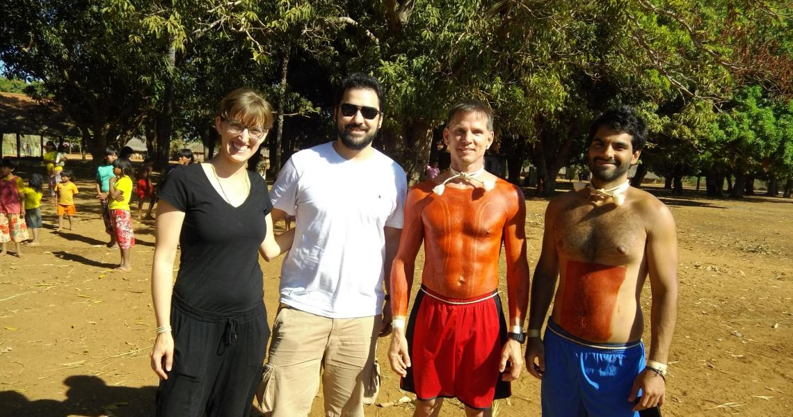 Researchers Rosanna Dent, José Rodolfo Mendonça de Lucena, James R. Welch and Caio Bibiani in Xavante territory in Central Brazil during the 30-day spiritual initiation ritual, darini, that takes place every 15 years.