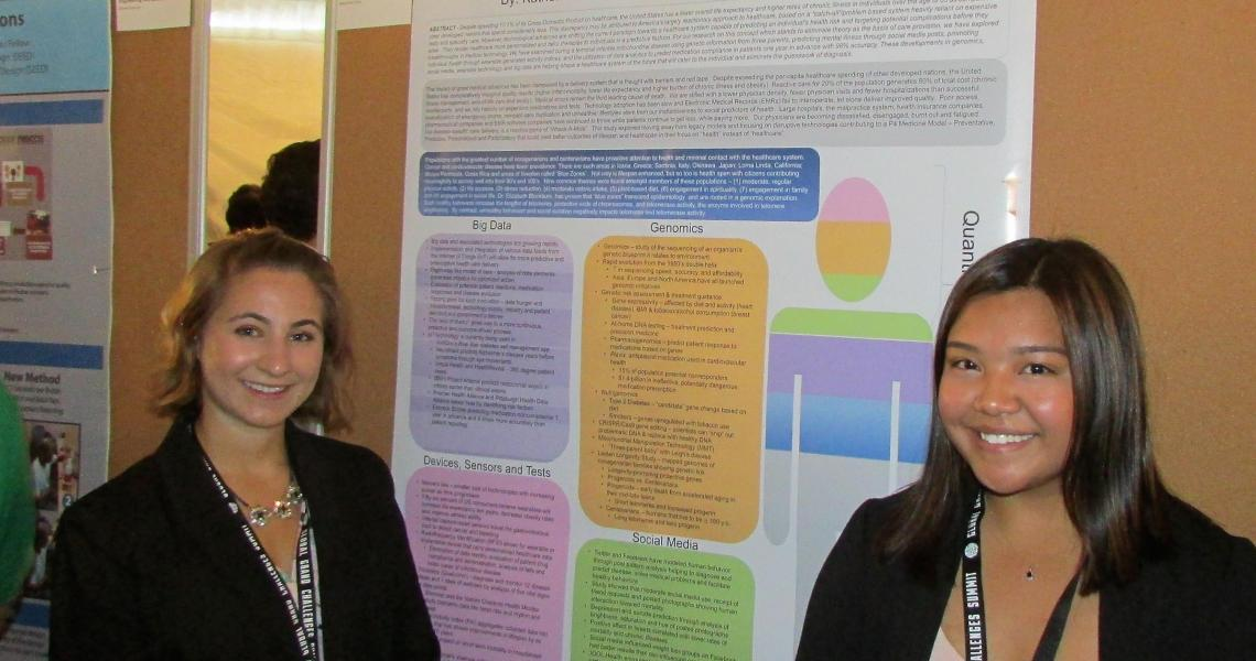 Dorman Scholars Katherine Cicala (left) and Katrina David were selected to present their research poster at the 2017 Global Grand Challenges Summit.