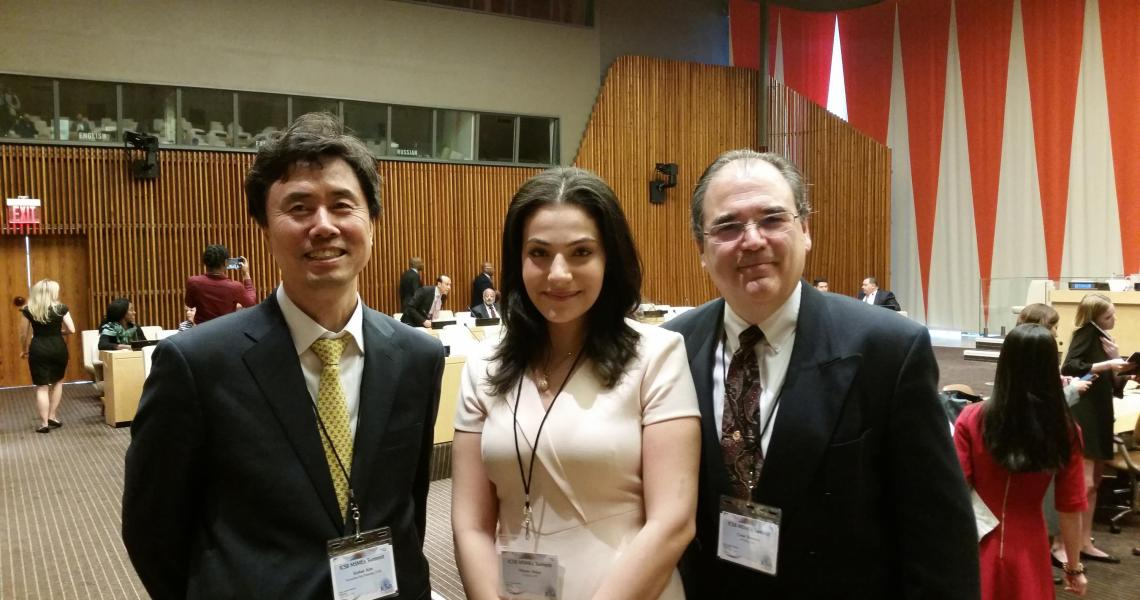ICSB 2016 President KiChan Kim, NJIT MBA student and ICSB Academy Project Manager Miriam Helmy and NJIT Assistant Professor of Entrepreneurship and ICSB Academy Director Cesar Bandera