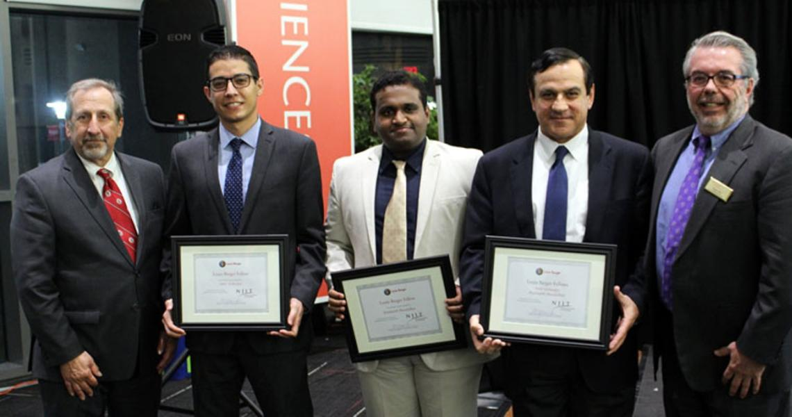 Left to right: Bob Nardi, Louis Berger Fellows Amir Goharpey and Prashanth Muralidhar, Sotirios Ziavras and Gregory Mass. Photo credit: Louis Berger