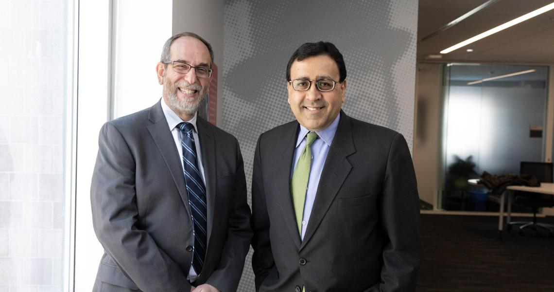 (From left) Martin Tuchman School of Management professors Michael Ehrlich and Rajiv Mehta