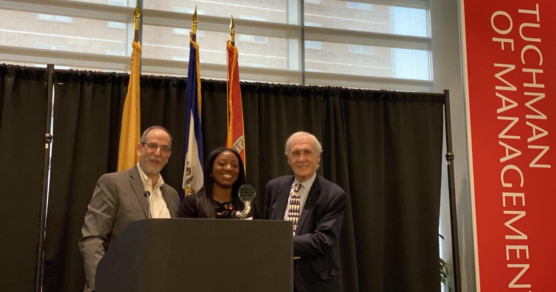 New Business Model Competition winner LeShannon Wright (center), with Michael Ehrlich (left), co-director of the New Jersey Innovation Acceleration Center, and Thomas Ungerland, vice president of the Charles Edison Fund