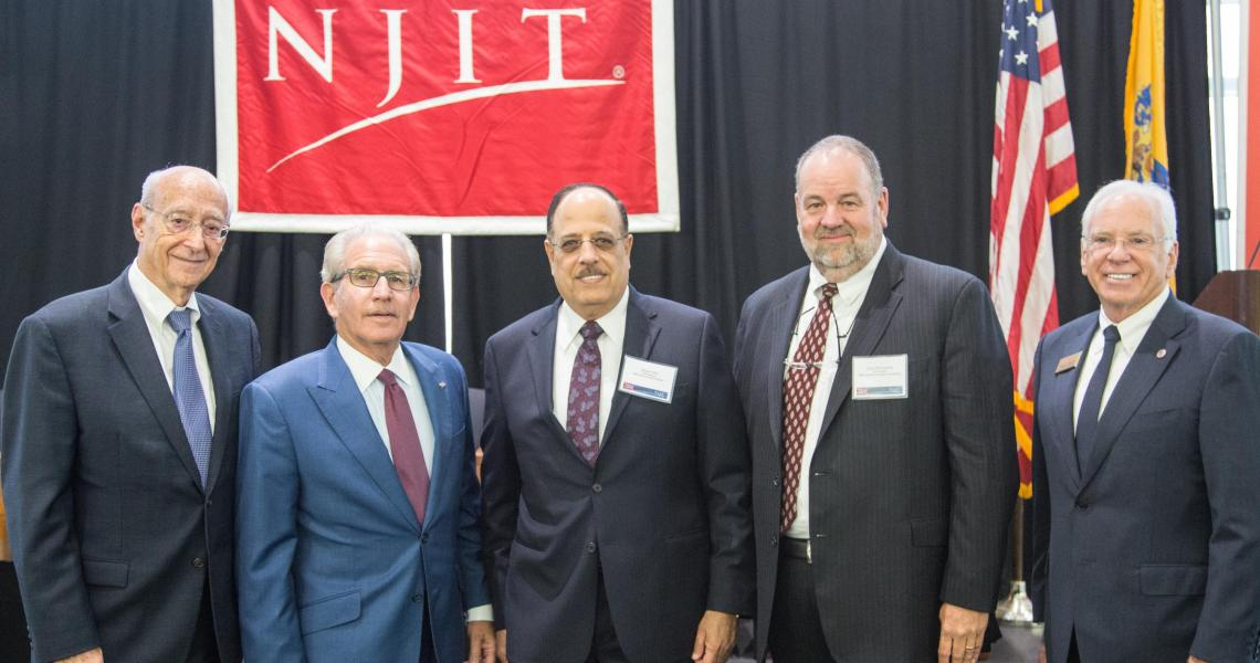 (From left) Martin Tuchman, Joel S. Bloom, Naguib Attia, David McQueeney and Reggie Caudill gather at the MTSM-IBM flagship alliance launch.