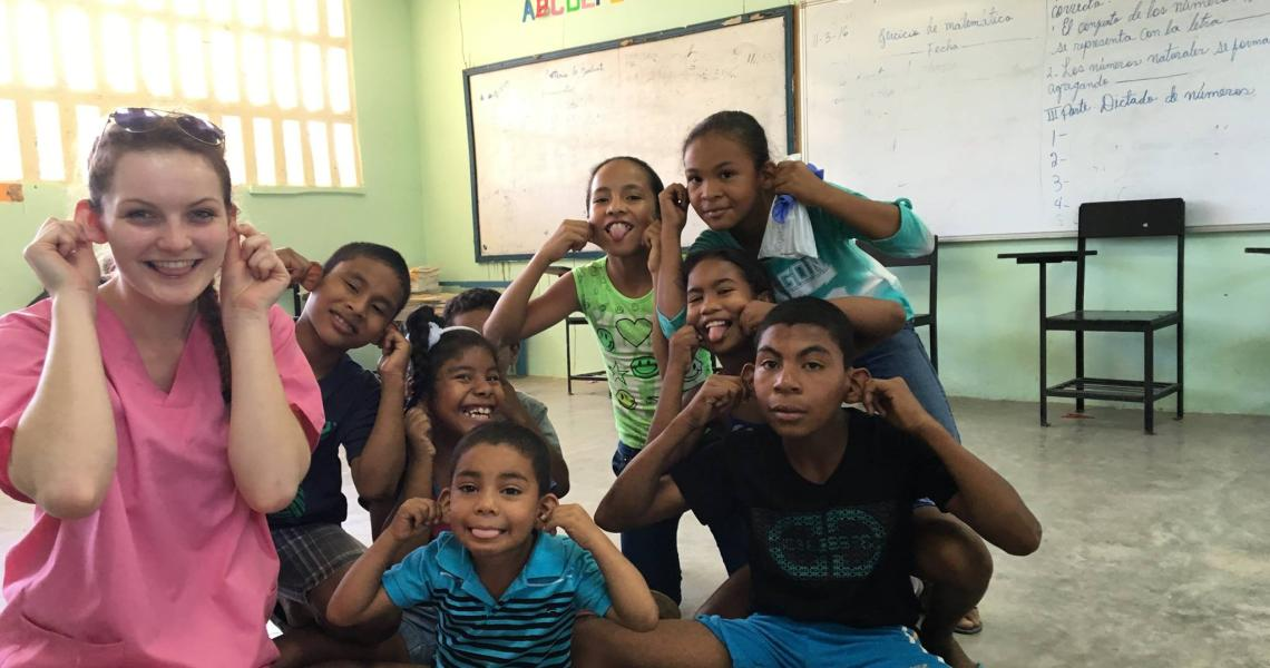 Olivia Hadlaw, electrical and computer engineering student and PES Scholar, helped educate children about healthy habits during a Global Brigades campus trip to Panama.