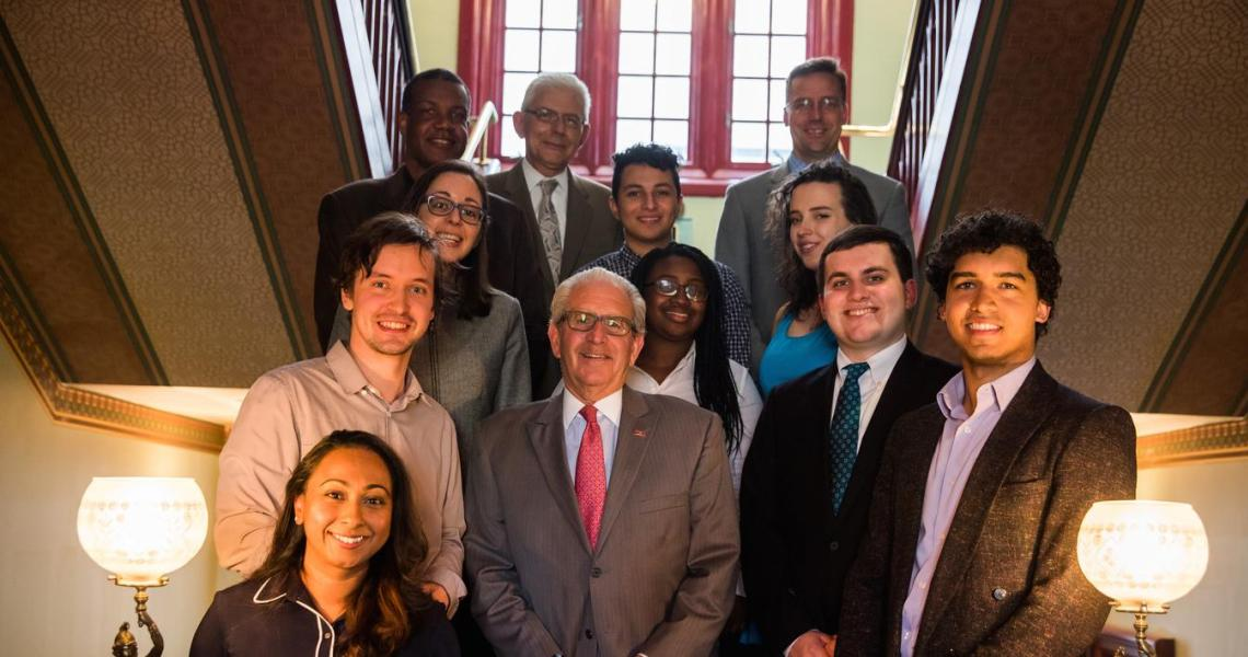Scholarship and fellowship recipients with NJIT administrators, staff and faculty.