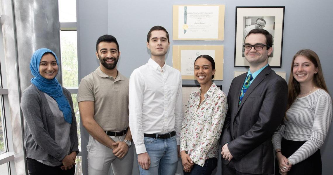 2019 scholarship and fellowship recipients (from left) Jenan Abu-Hakmeh, Samir Peshori, John Antley, Victoria Harbour, Sebastian Fine and Samantha Lomuscio