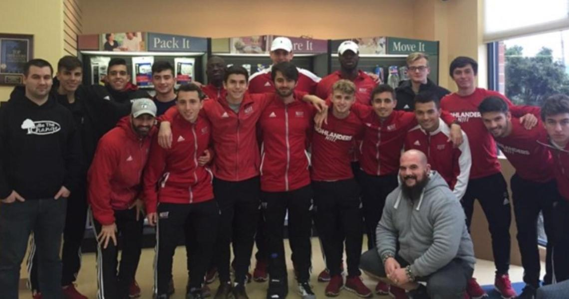 """Coaches and members of the NJIT men's soccer team recently teamed up with a group called """"BE THE CHANGE"""" completing a community service program locally at Newark Penn Station."""