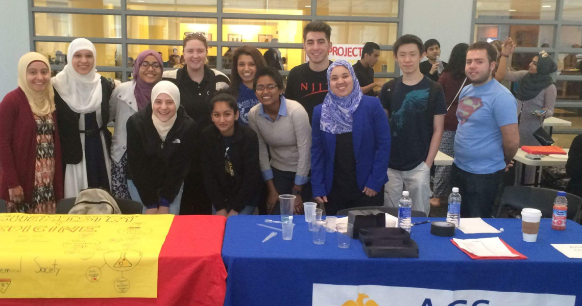 Nandini Isaac, Governor's STEM Scholar (back row, fifth from left), with the NJIT chapter of the American Chemical Society.