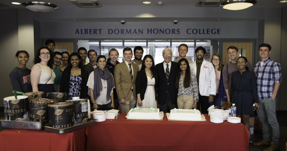 Albert Dorman (center) celebrates his birthday with Honors College students.