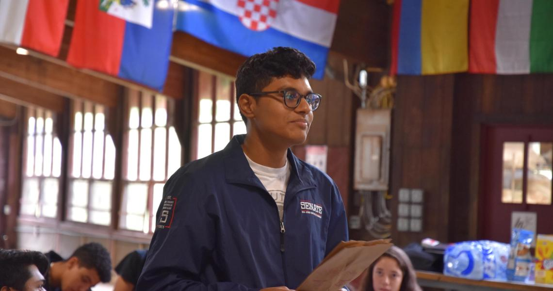 Anuj Patel, president of the NJIT Student Senate, at a retreat earlier this year to discuss goals for the year.