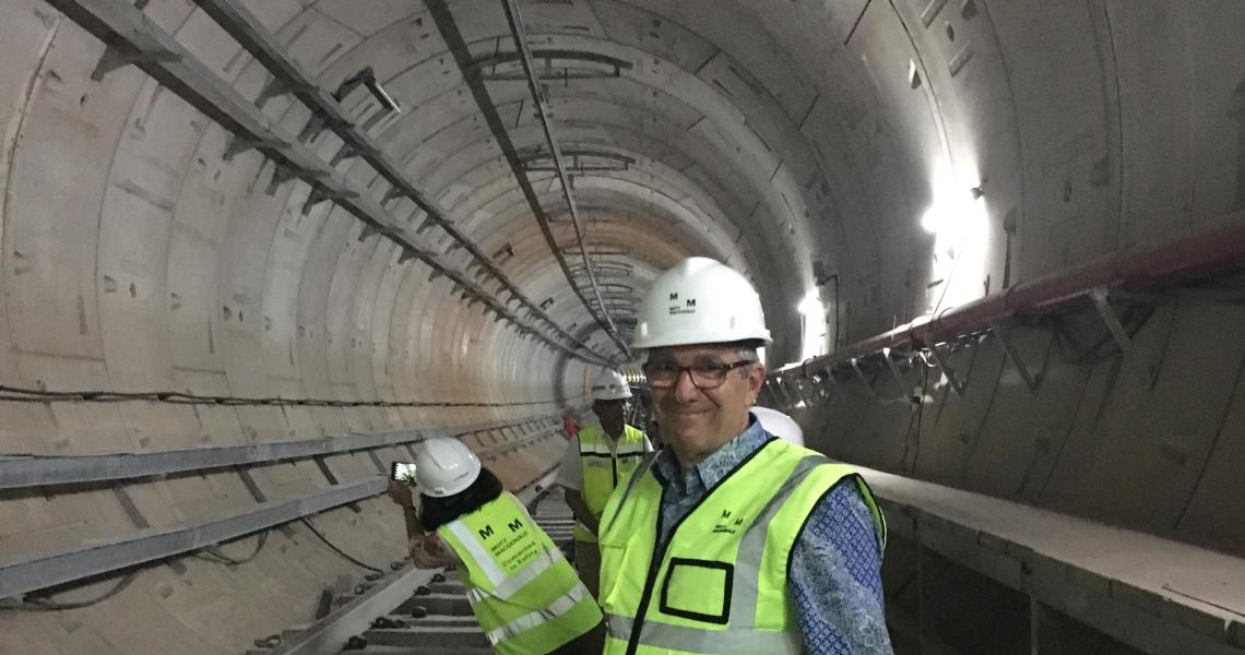 Mott MacDonald CEO Nicholas DeNichilo inspects a new transit system in Jakarta that his firm designed.