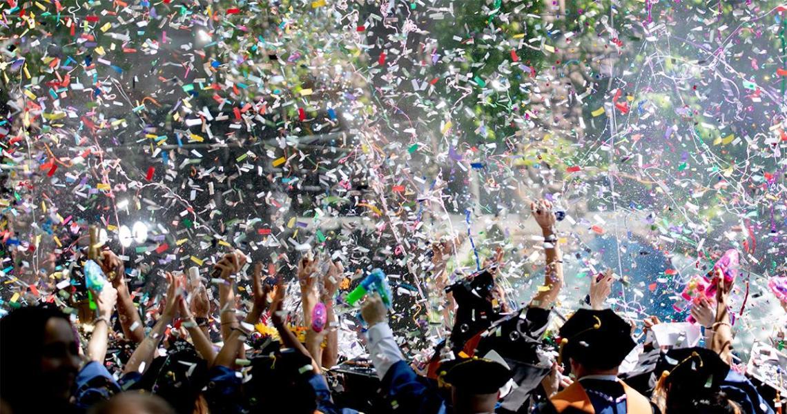 Graduation celebration with confetti