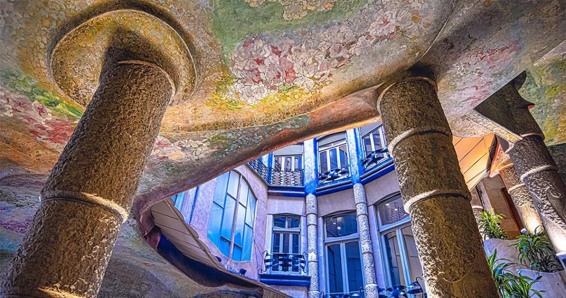 Courtyard view of Antoni Gaudi's Casa Mila in Barcelona by Goldman