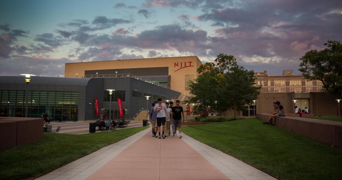 NJIT's campus at dusk