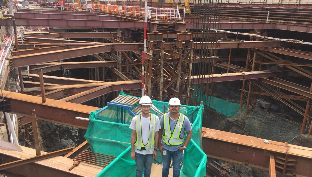 Civil engineering graduate student Abhishek Banyal at construction site in Mumbai, India.
