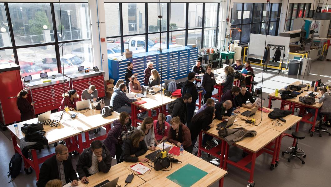 New Jersey educators attend a hands-on workshop at NJIT's Makerspace.