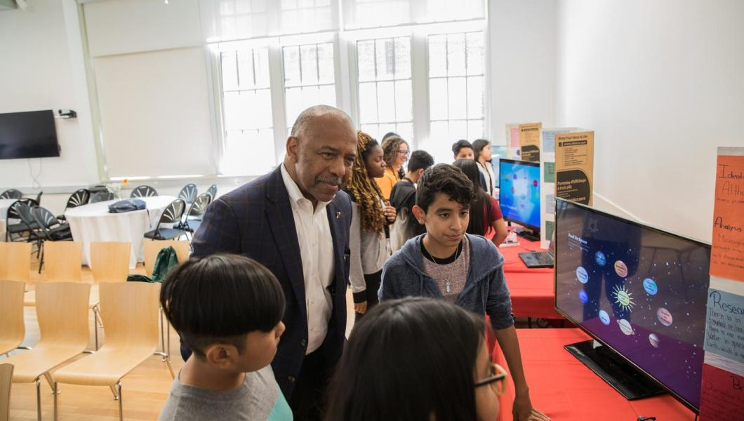 Dr. Bernard Harris and students at the 2018 Bernard Harris Summer STEM Camp.
