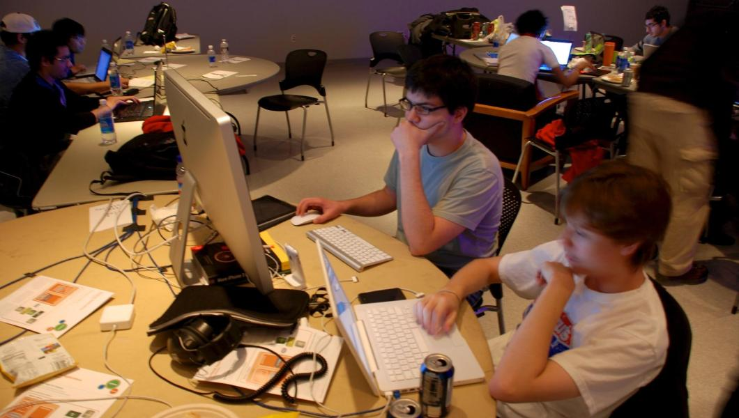 Students at a hackathon at NJIT.