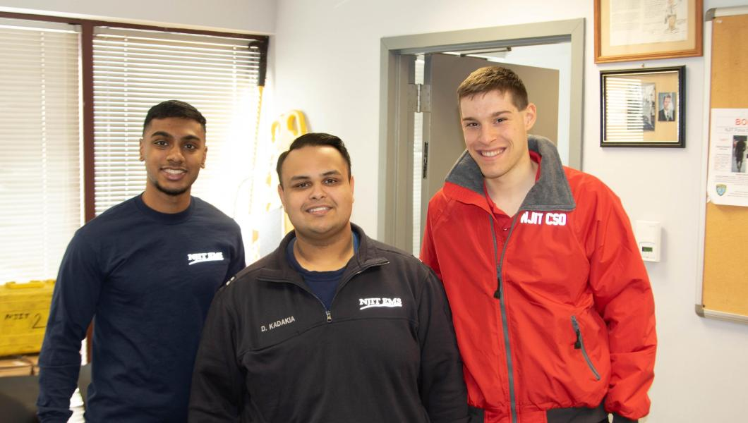 (From left) Shiva Senthilkumar, student EMT; Dhwanil Kadakia, student EMT and student captain of the First Aid and Community Service Officer Program; and Matt Rizzo, student CSO lieutenant