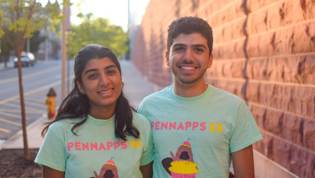 Dorman Scholars, computer science majors and hackathon winners Aarati Srikumar and George Aboudiwan