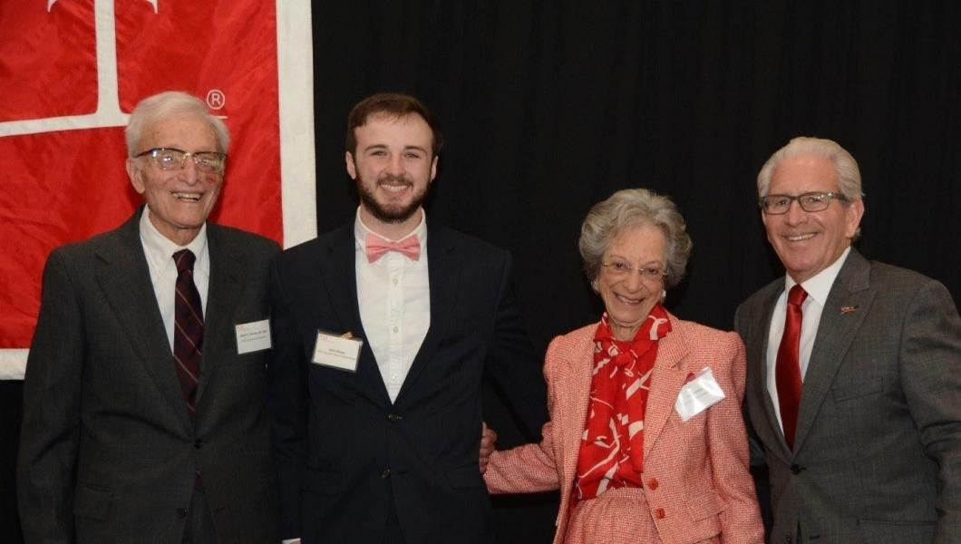 From left: Albert Dorman '44, '99 HON; Adam Bindas '17; Joan Dorman; and NJIT President Joel S. Bloom. Photo: GradImages