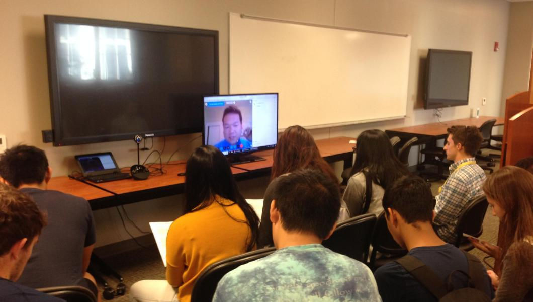Honors College students network virtually with alumnus Phong Pham.