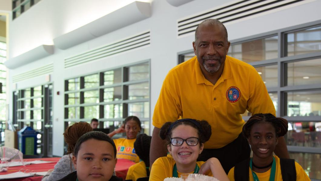 Dr. Bernard Harris and students at the 2017 ExxonMobil Bernard Harris Summer Science Camp.