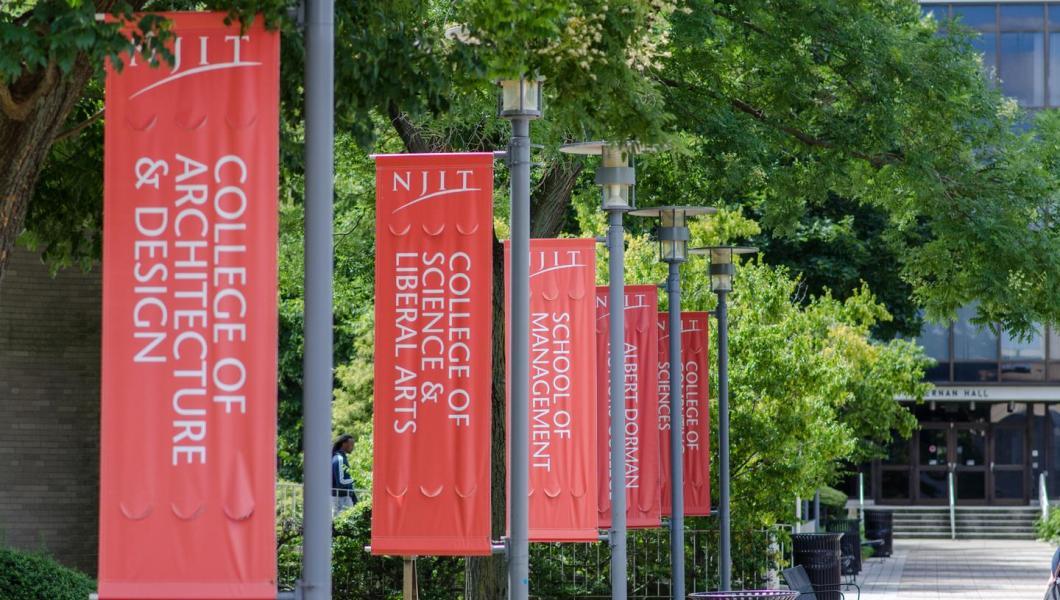 NJIT Campus - school flags