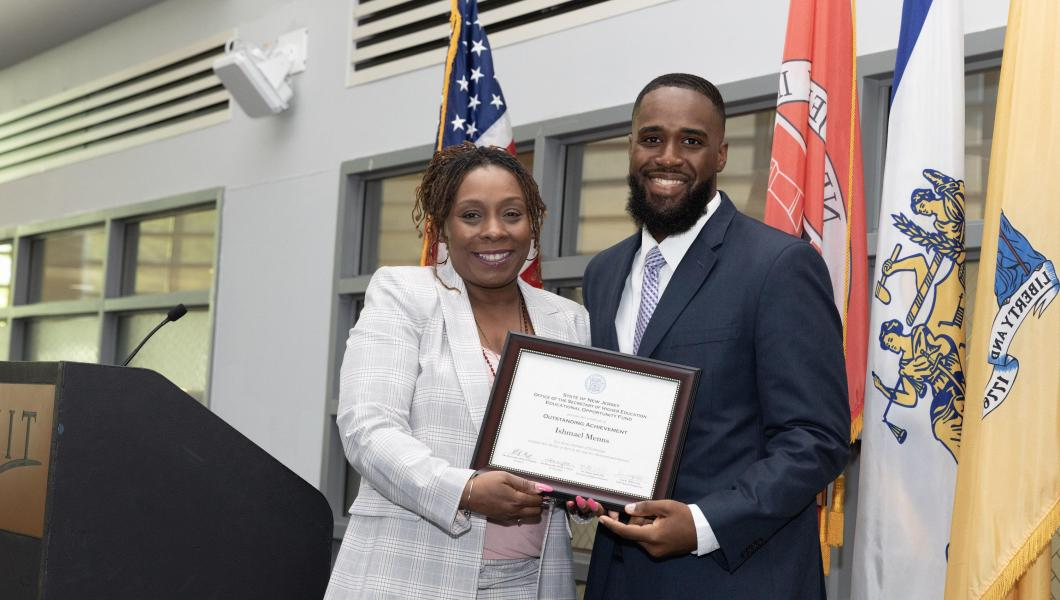 Crystal Smith, EOP's newly appointed director, with now EOP alumnus Ishmael Menns '19