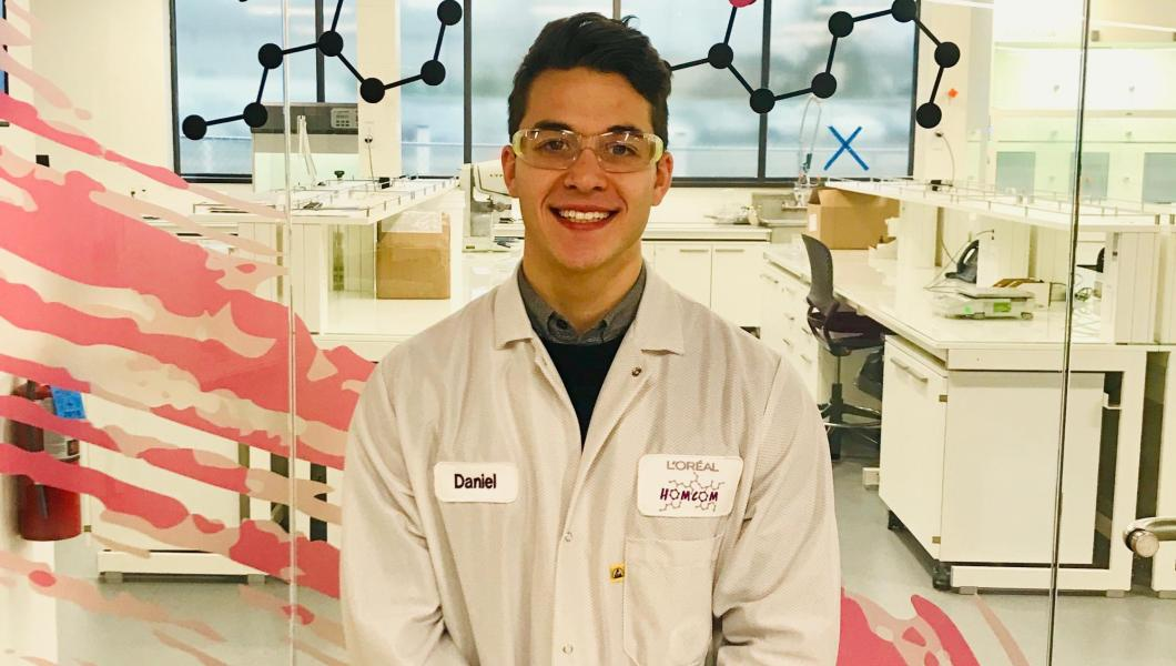 NJIT student Daniel Young works on product-and-package compatibility at L'Oréall.