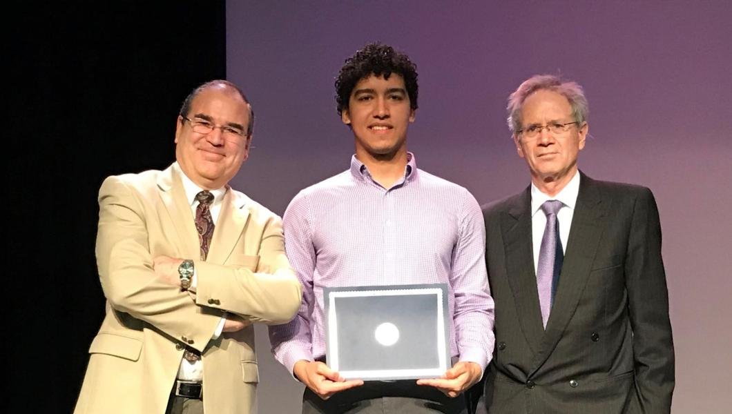 (Left to right) NJIT Assistant Professor of Entrepreneurship Cesar Bandera, NJIT Honors College senior Dylan Renaud, and Kean College of Business and Public Management Dean Geofrey Mills