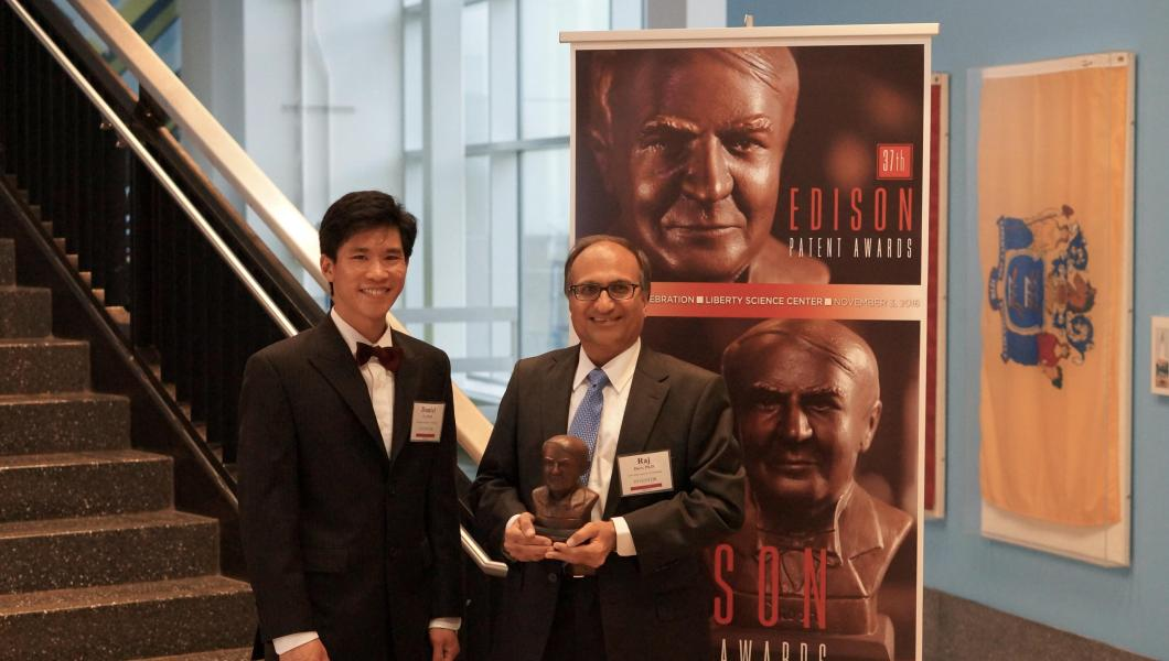NJIT Professor Rajesh Dave and his former graduate student, alumnus Daniel To