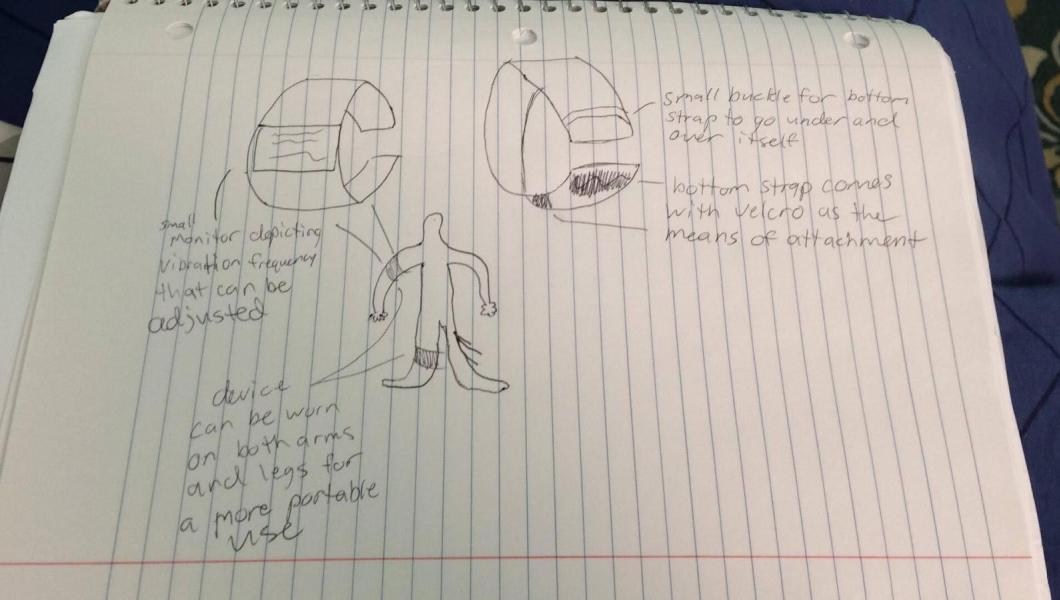 A rough drawing of the GoodVibe Medical device, designed by NJIT students Kaila Trawitzki and Mert Nacir.