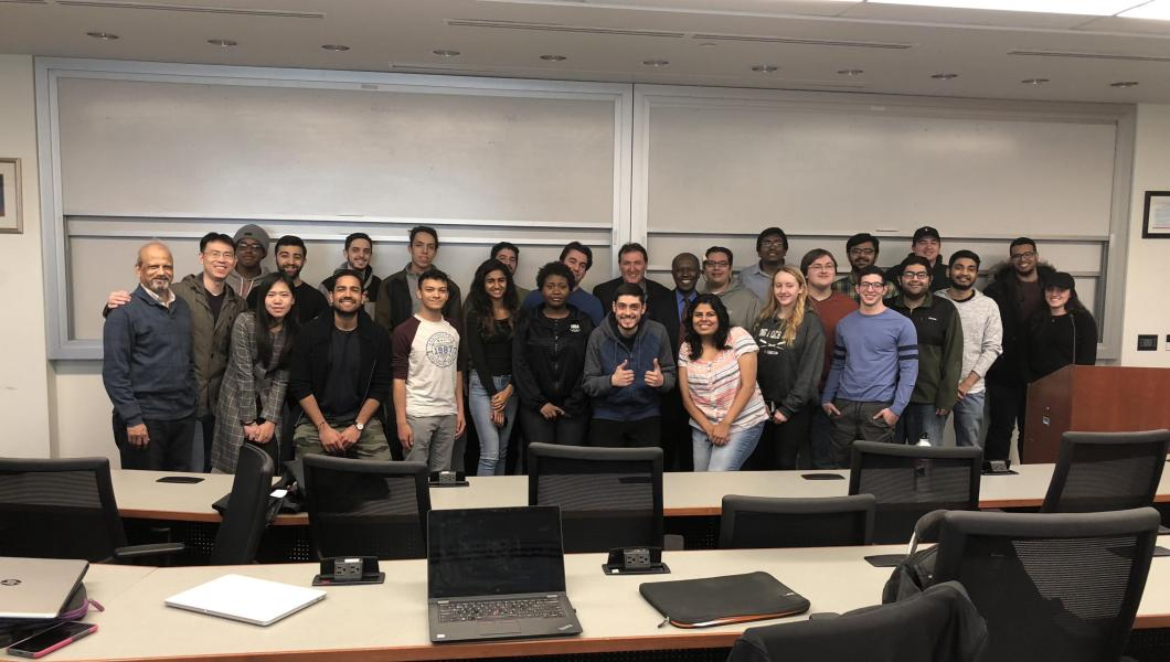 Instructors Zhenrui Cao and Weizhi Chen (front row, second and third from left, respectively) and MTSM faculty members Leon Vaks and Cheickna Sylla (back row, seventh and eighth from left, respectively) joined a happy group of students that had completed
