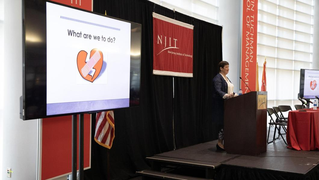 Wendy Nilsen, of the NSF Smart and Connected Health Program, delivers a keynote address at the Leir Research Institute conference.