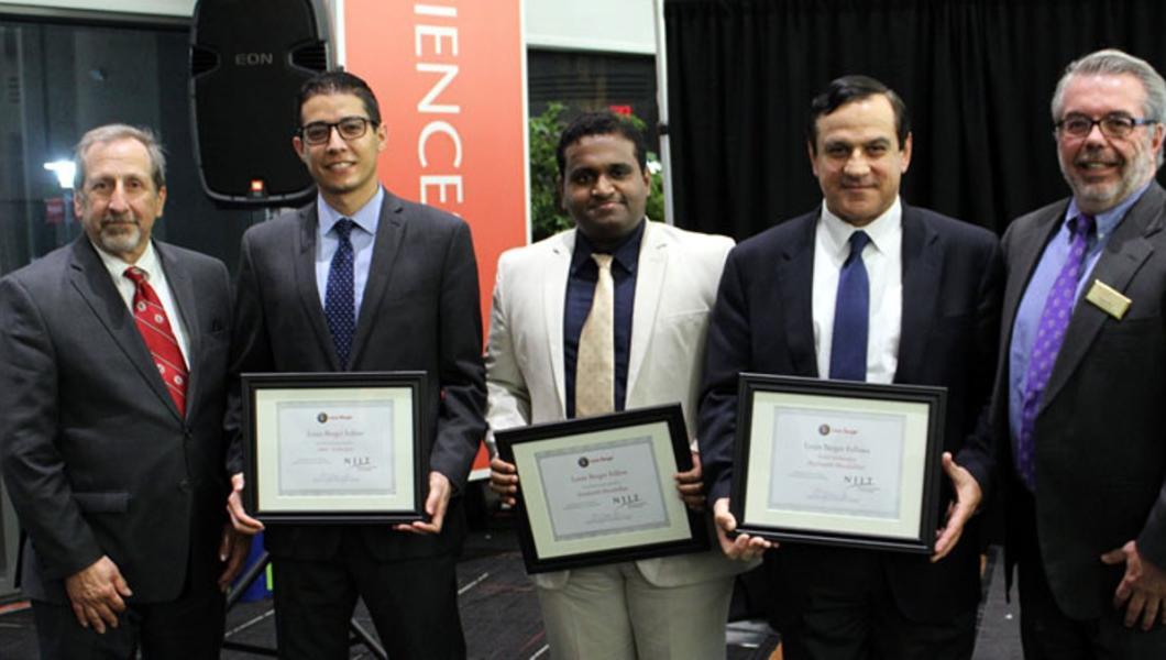 Left to right: Bob Nardi, Louis Berger Fellows Amir Goharpey and Prashanth Muralidhar, Sotirios Ziavras and Gregory Mass. Photo credit: Louis Berger