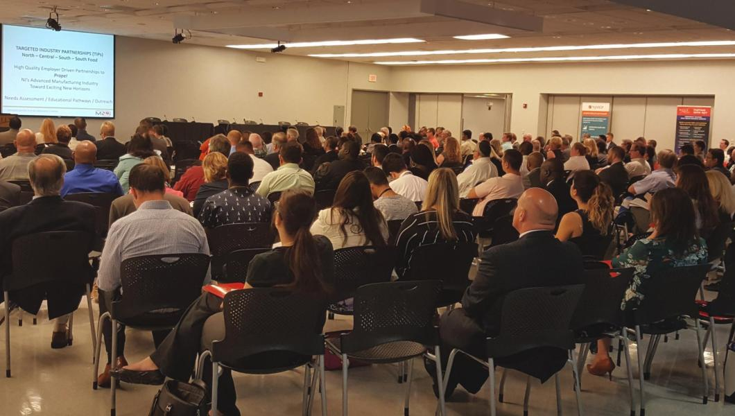 Nearly 300 people came to hear a range of speakers discuss the manufacturing industry in New Jersey.