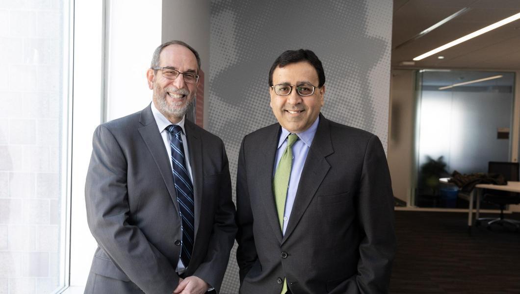(From left) Martin Tuchman School of Management professors Michael Ehrlich and Rajiv Mehta