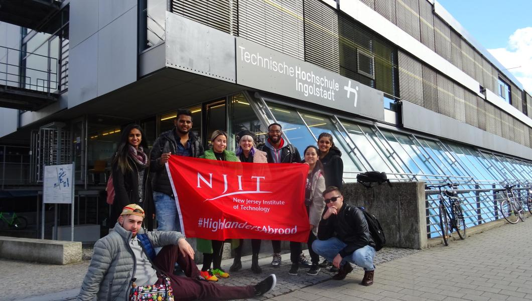 The study-abroad group from Martin Tuchman School of Management in front of Technische Hochschule Ingolstadt University