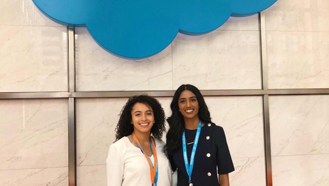MTSM students Shravanthi Budhi (right) and Rosa Moss (left) join Salesforce at its 2018 Dreamforce conference.