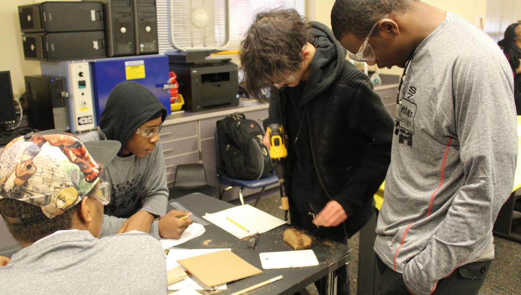 Students collaborate at the Build It Better Design Challenge.