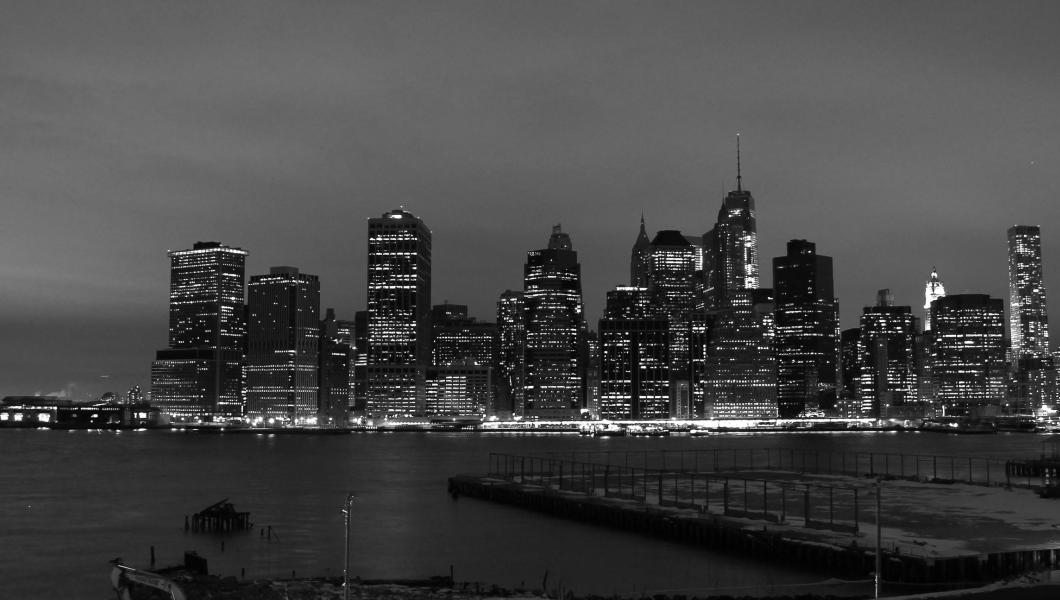Manhattan Skyline at night from across the river