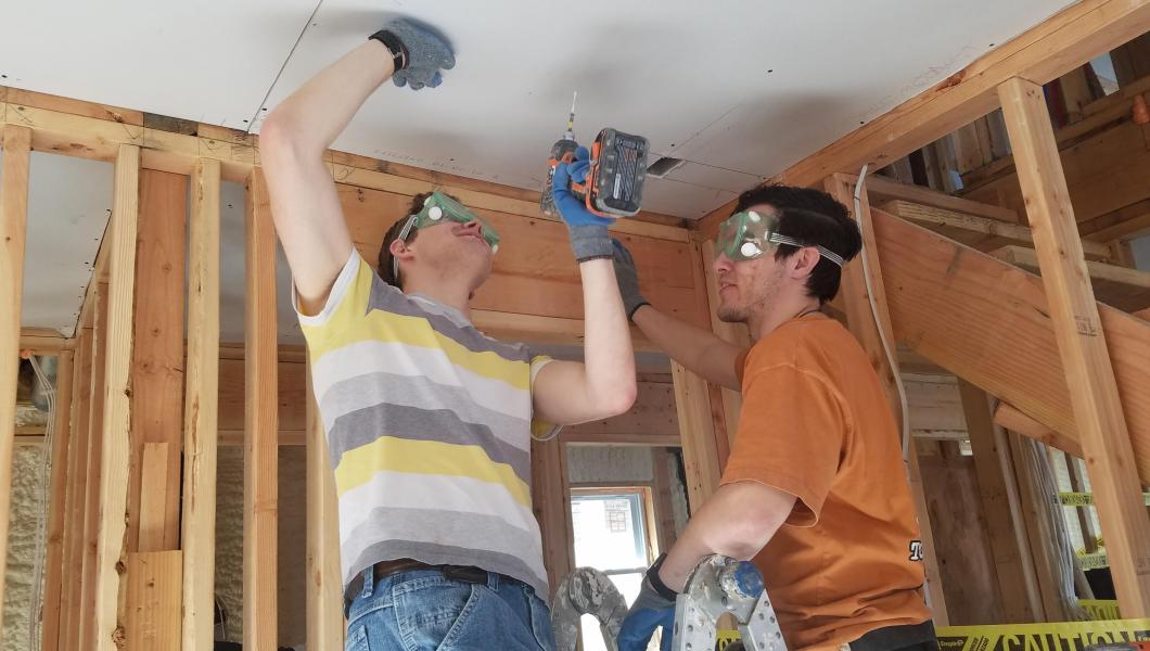 """At this house in Bayville, N.J., NJIT students participate in the Sandy Rebuild project in partnership with SBP, """"a leader in disaster resilience and recovery."""""""