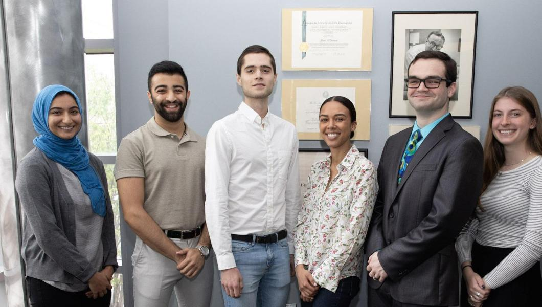 2019 scholarship and fellowship recipients (from left) Jenan Abu-Hakmeh, Samir Peshori, John Antley, Victoria Harbour, Sebastian Fine and Samantha Lomuscio