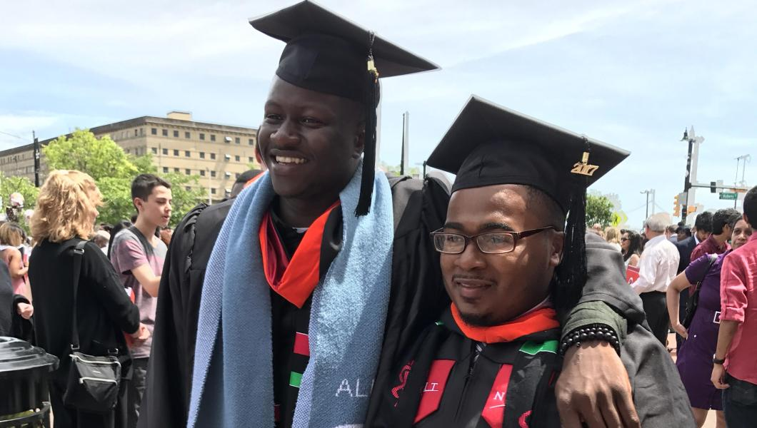 Talent Search alumni Mohamed Camara '17 (left) and Timothy Ellis '17 are the first graduates of the NJIT and Central High School Math 110 partnership.