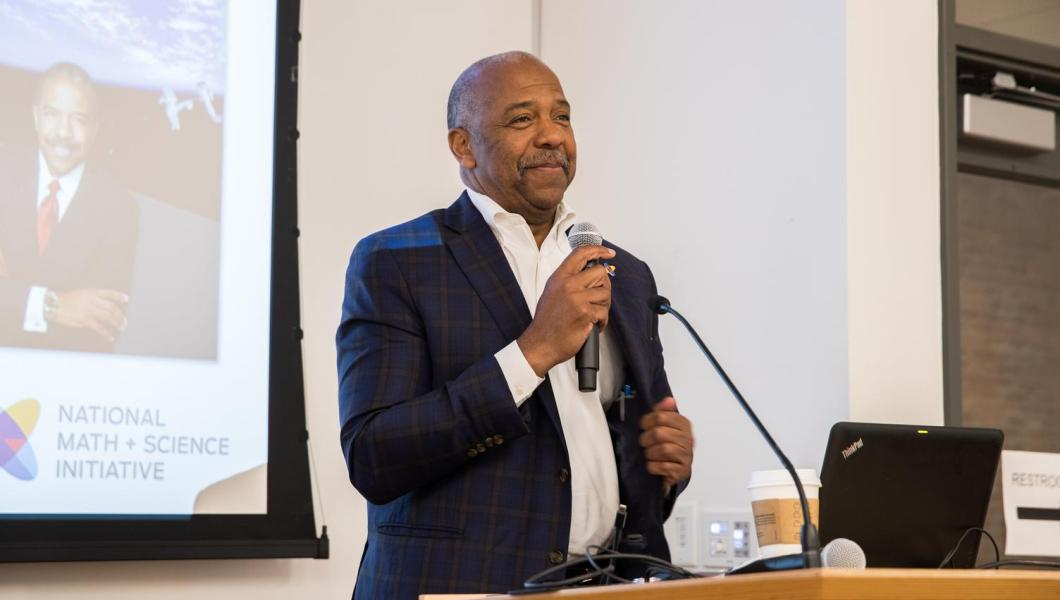 Bernard Harris speaking at STEM forum in 2018