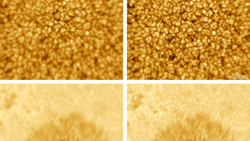 Side-by-side images of the sun captured through current and next-gen optics