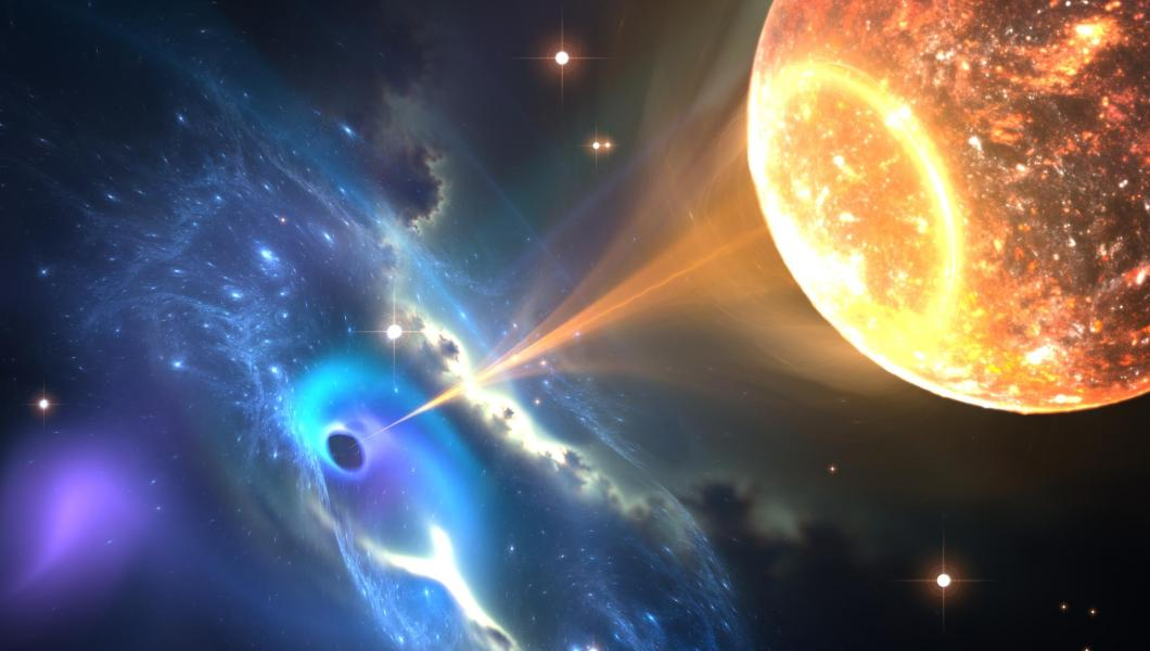 Conceptual illustration of a black hole absorbing matter from a companion star.